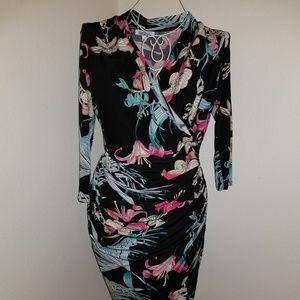 Jennifer Lopez Faux Wrap Tropical Midi Dress